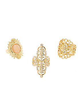 Embellished Shield Rings - 3 Pack