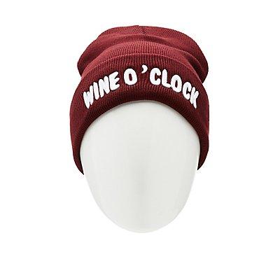 Wine O' Clock Ribbed Knit Beanie