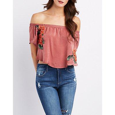 Floral Patch Off-The-Shoulder Crop Top