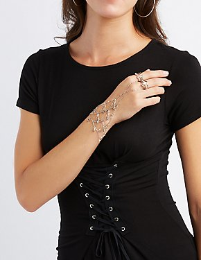 Embellished Hand Chain & Stacking Rings - 3 Pack