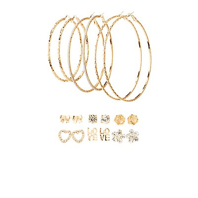 Love Stud & Hoop Earrings - 9 Pack