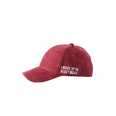 Embroidered Faux Suede Baseball Hat