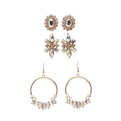 Embellished Chandelier & Stud Earrings - 3 Pack
