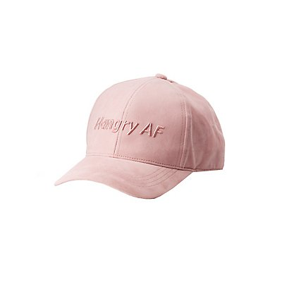 Hangry AF Faux Suede Baseball Hat