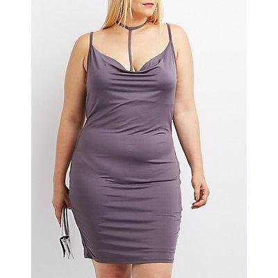 Plus Size Strappy Cowl Neck Dress