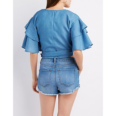 Chambray Ruffle-Trim Sleeve Wrap Crop Top