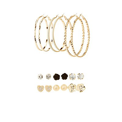 Embellished Stud & Hoop Earrings - 9 Pack