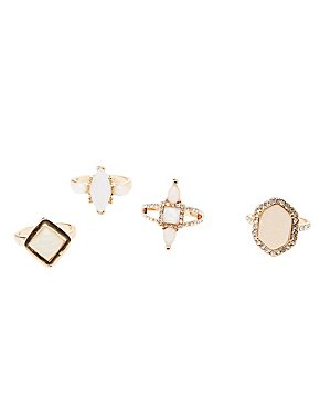 Embellished Cocktail Rings - 4 Pack
