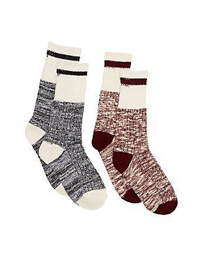 Marled Stripe Crew Socks - 2 Pack