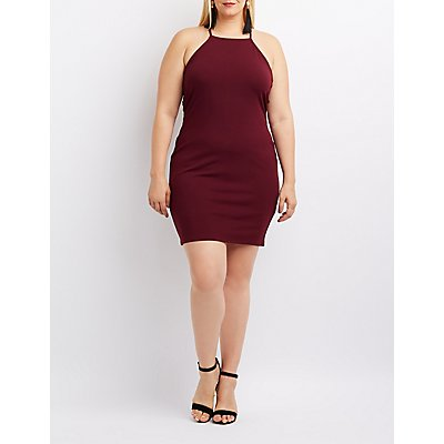 Plus Size Bib Neck Lattice-Inset Bodycon Dress