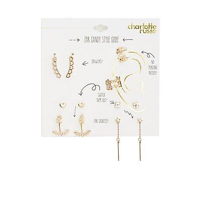 Embellished Ear Cuffs & Stud Earrings Set - 7 Pack