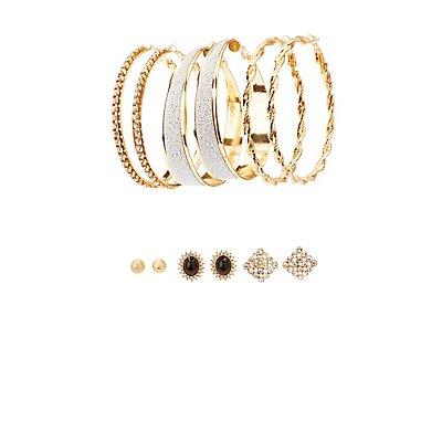Glam Stud & Hoop Earrings - 6 Pack