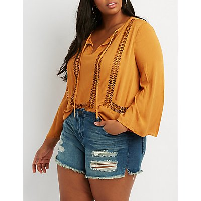 Plus Size Crochet Inset Bell Sleeve Top