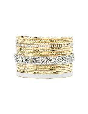Etched Metal & Embellished Bangle Bracelets - 4 Pack