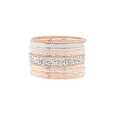 Etched Metal & Embellished Bangle Bracelets - 4 Pack
