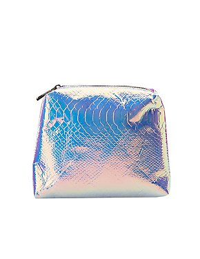 Holographic Faux Snakeskin Zip Pouch