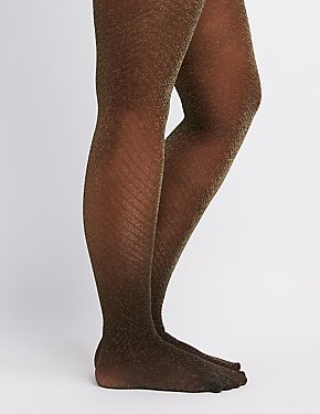Plus Size Metallic Chevron Tights