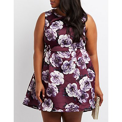 Plus Size Floral Pleated Skater Dress