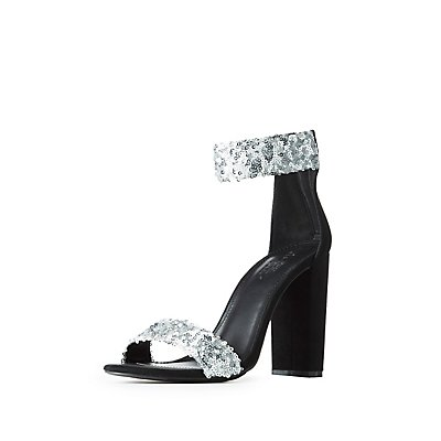 Sequin Ankle Strap Sandals