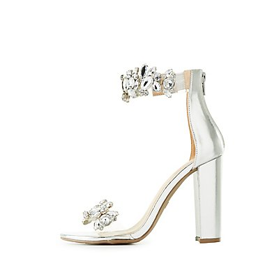 Embellished Metallic Ankle Strap Sandals