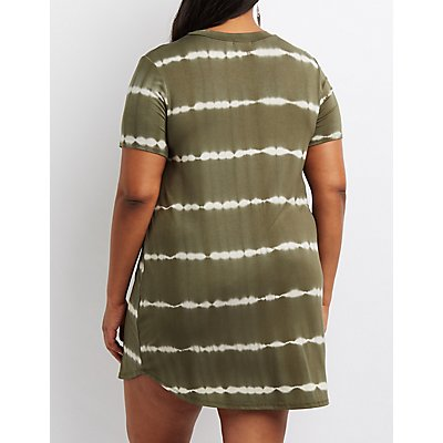 Plus Size Tie-Dye T-Shirt Dress
