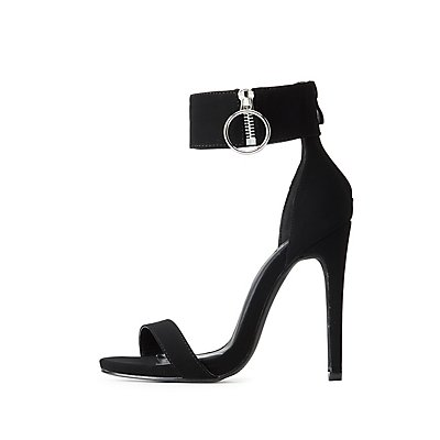 Zipper-Trim Two-Piece Sandals