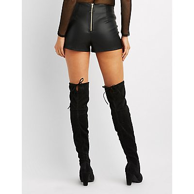 Whipstitched Faux Leather Shorts