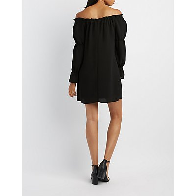 Tie-Front Off-The-Shoulder Shift Dress