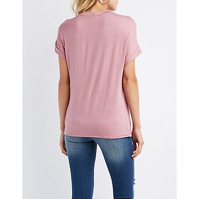 Distressed Mesh-Inset Tee