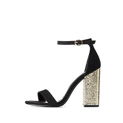 Ankle Strap Metallic Heel Sandals