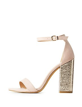 Two-Piece Metallic Heel Sandals