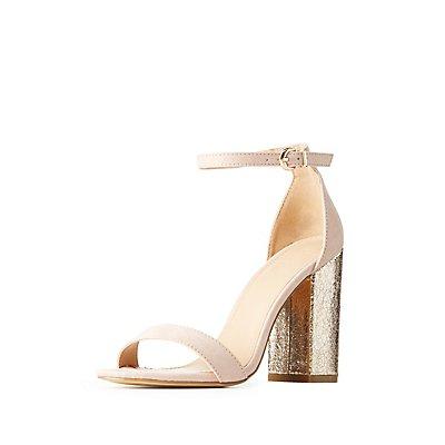 Two-Piece Metallic Heel Sandals