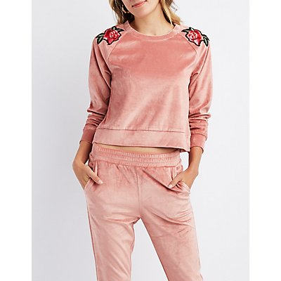 Floral Patch Velour Pullover