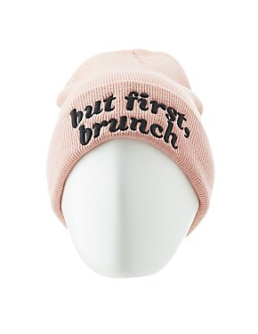But First, Brunch Ribbed Knit Beanie