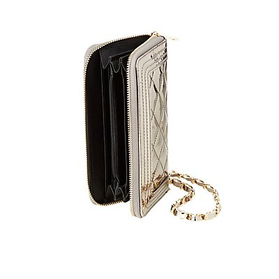 Metallic Quilted Wristlet Wallet