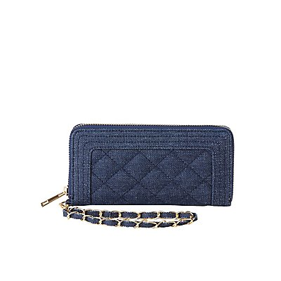 Denim Quilted Wristlet Wallet