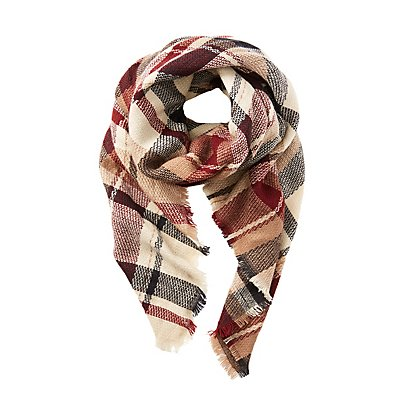 Fringe Plaid Blanket Scarf
