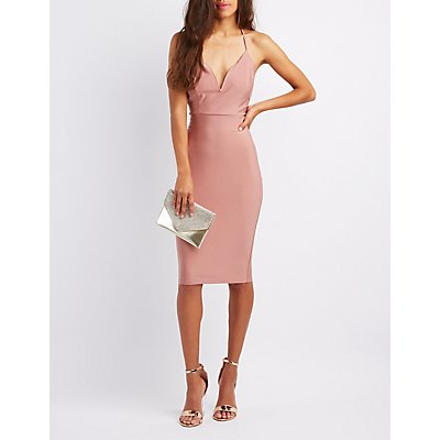 Shimmer Knit Notched Bodycon Dress