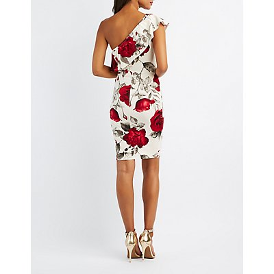 Floral Ruffle One-Shoulder Dress