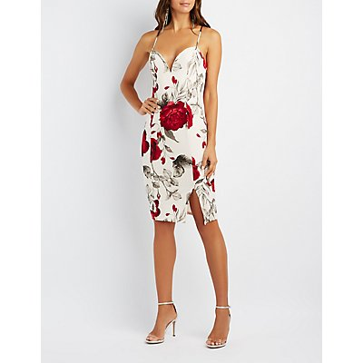 Floral Plunging Bodycon Dress