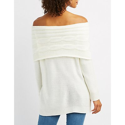 Off-The-Shoulder Shaker Stitch Sweater