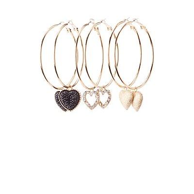 Heart Charm Hoop Earrings - 3 Pack
