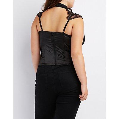 Plus Size Caged Lace-Trim Mock Neck Bustier Top