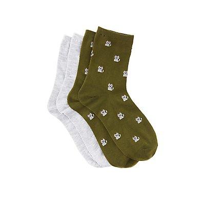 Cat Crew Socks - 2 Pack