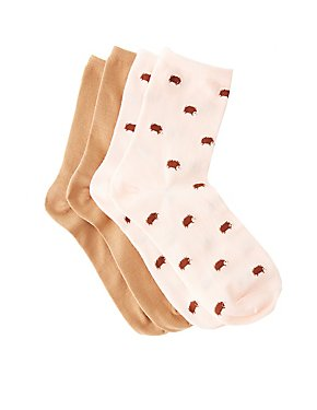 Hedgehog Crew Socks - 2 Pack