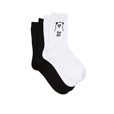 Panda Crew Socks - 2 Pack