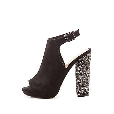 Glitter Heel Peep Toe Slingback Platform Sandals