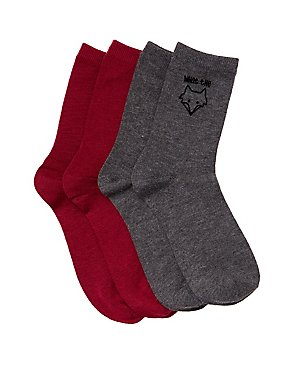 What The Fox Crew Socks - 2 Pack