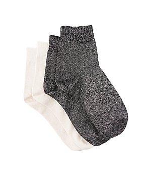 Metallic Crew Socks - 2 Pack