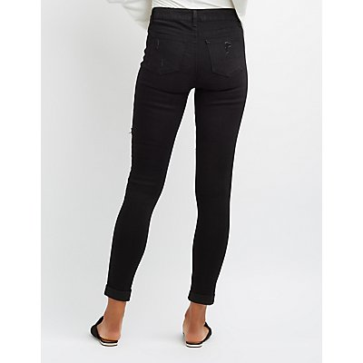 Destroyed Cuffed Skinny Jeans